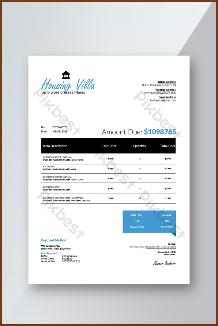 Download Invoice Template Word Doc