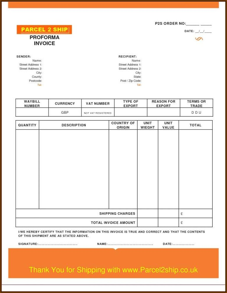 Download Proforma Invoice Template Word