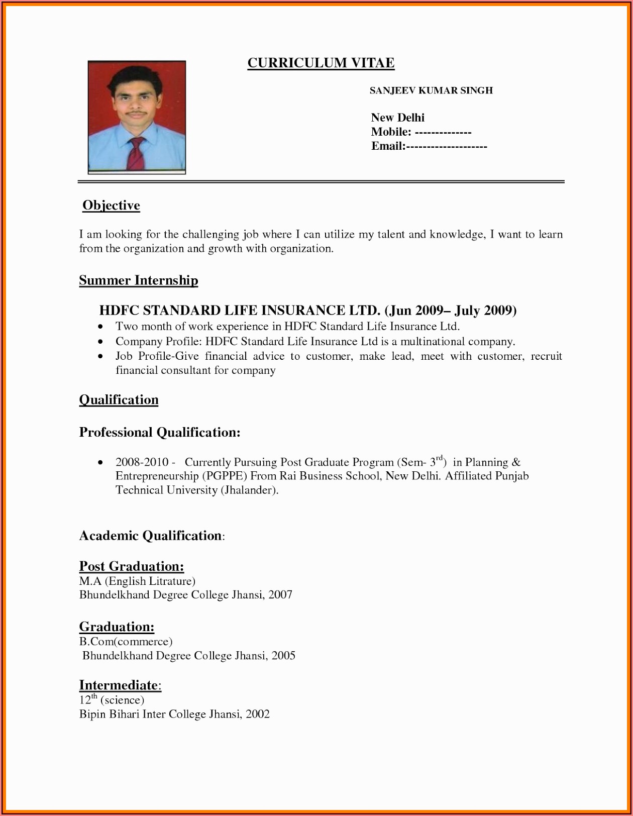 Download Resume Format Pdf Free