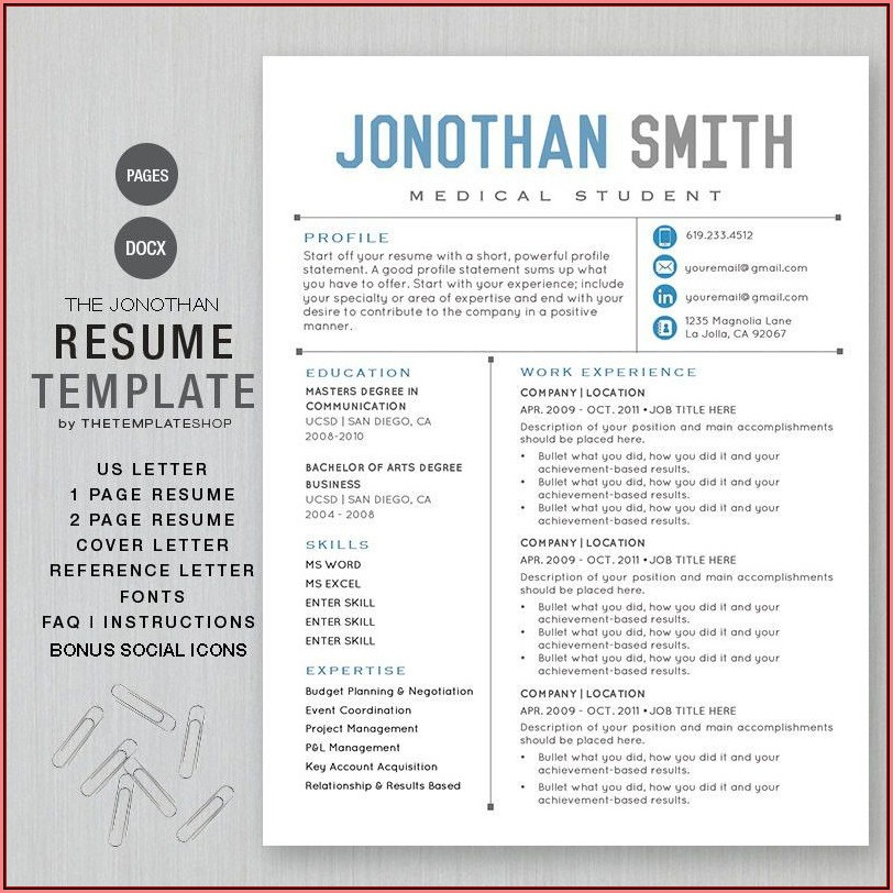 Downloadable Resume Templates For Mac