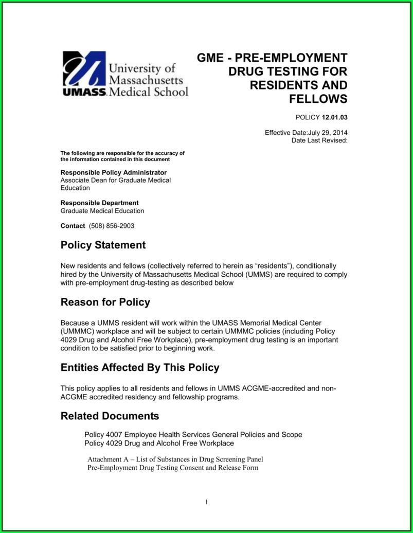 Drug Test Form For Employment