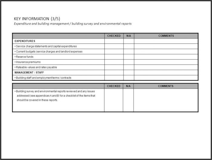 Due Diligence Checklist Example