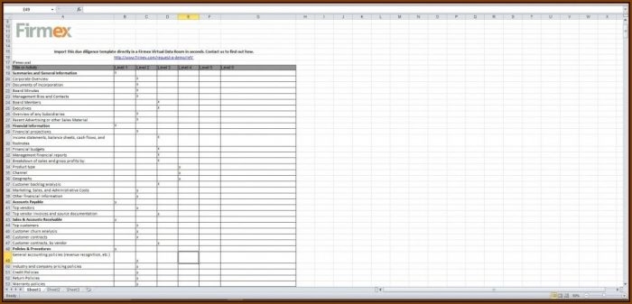 Due Diligence Checklist Template Excel