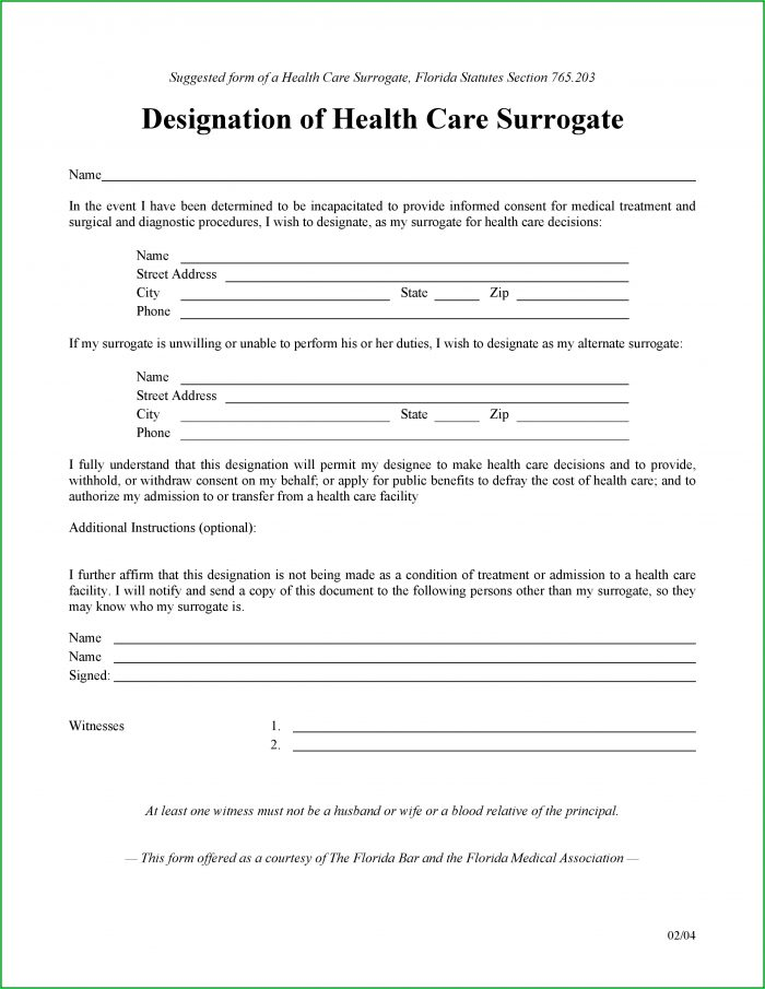 Durable Power Of Attorney For Healthcare Form Florida