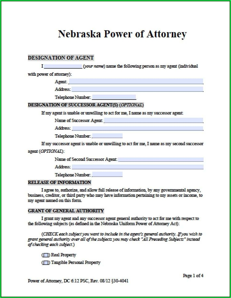 Durable Power Of Attorney Form Nebraska