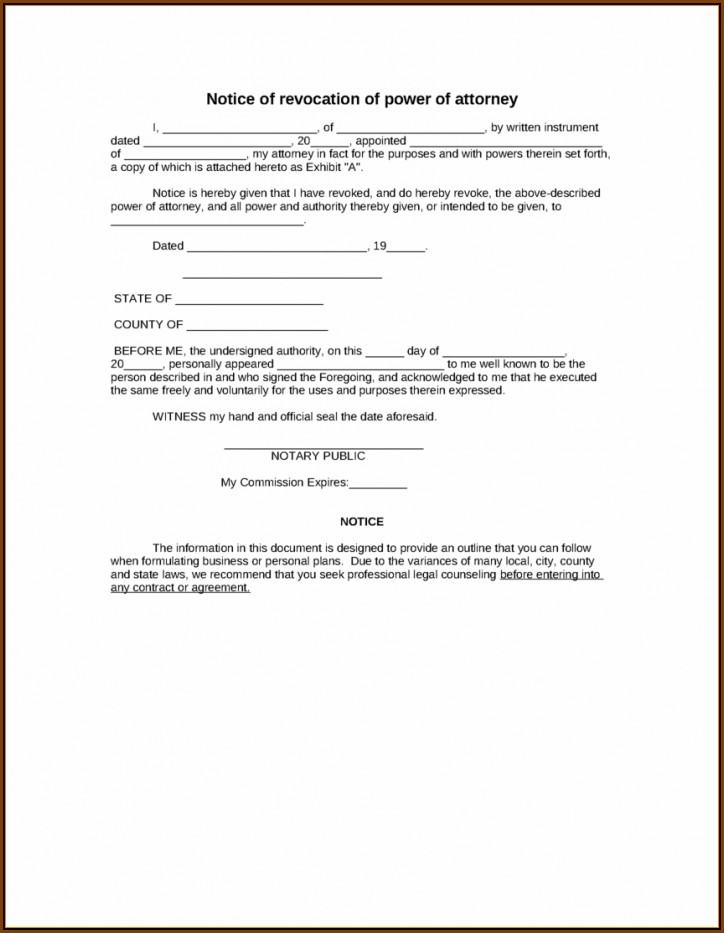 Durable Power Of Attorney Template Florida