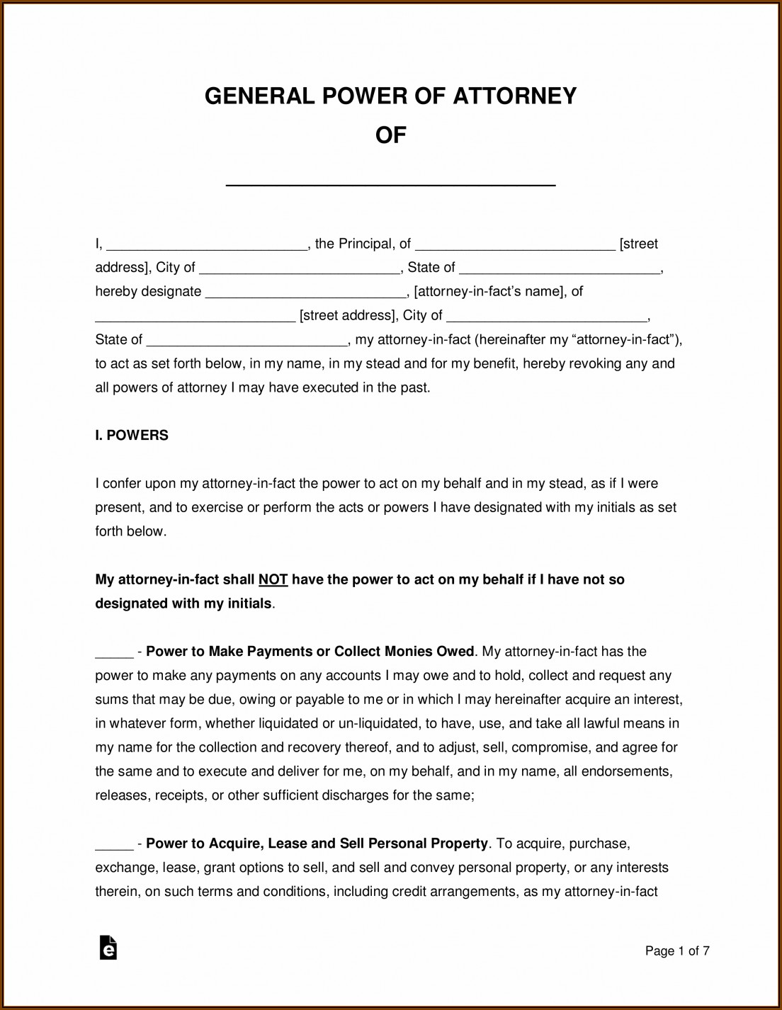 Durable Power Of Attorney Template Georgia