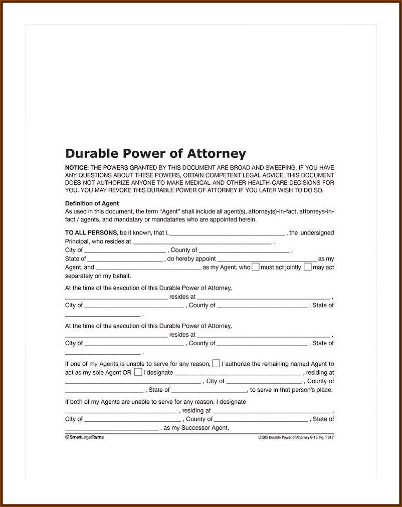 Durable Power Of Attorney Template Missouri