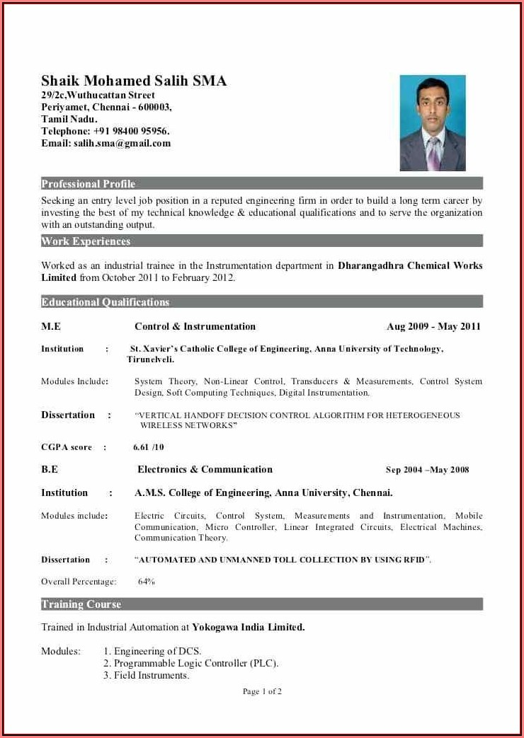 Effective Resume Templates For Freshers