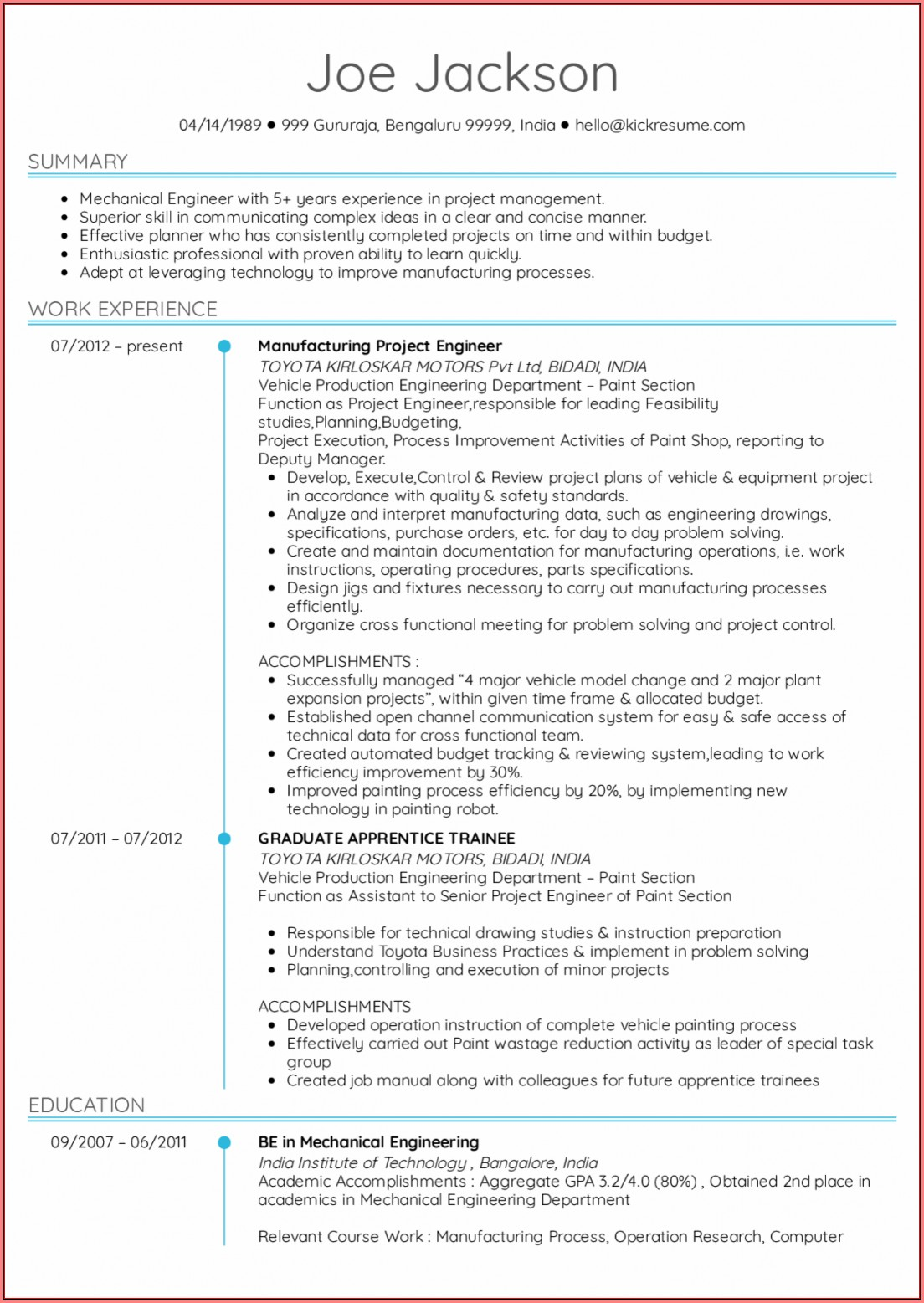 Electrical Engineer Resume Templates Free