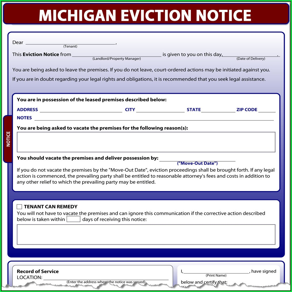Eviction Paperwork Michigan