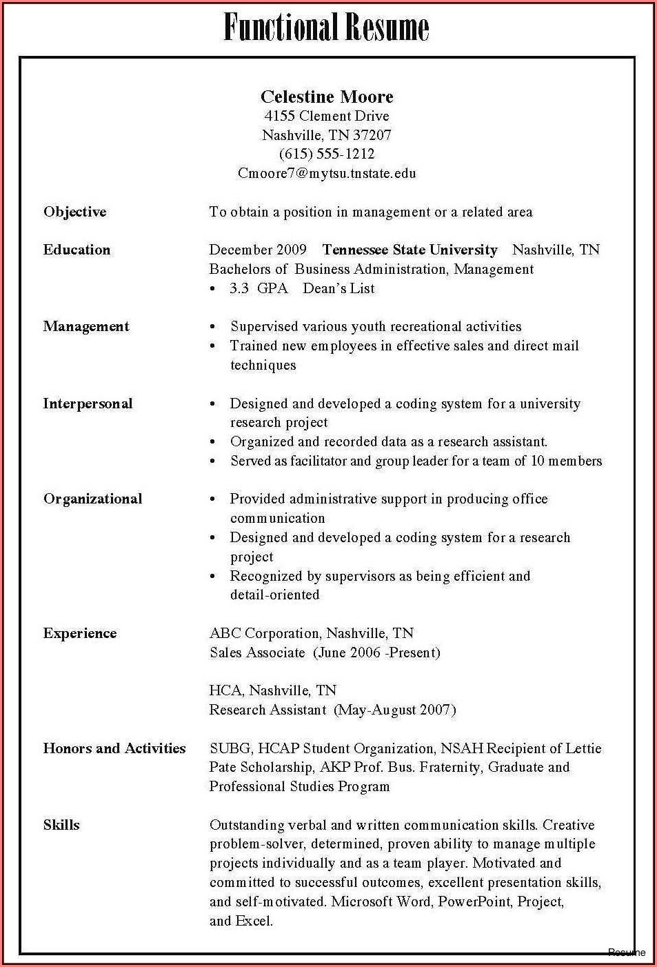 Examples Of Resume Format For Freshers