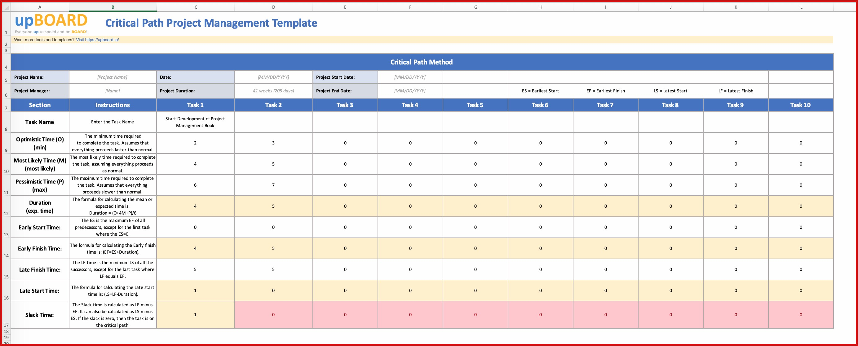 Excel Critical Path Template Free Download