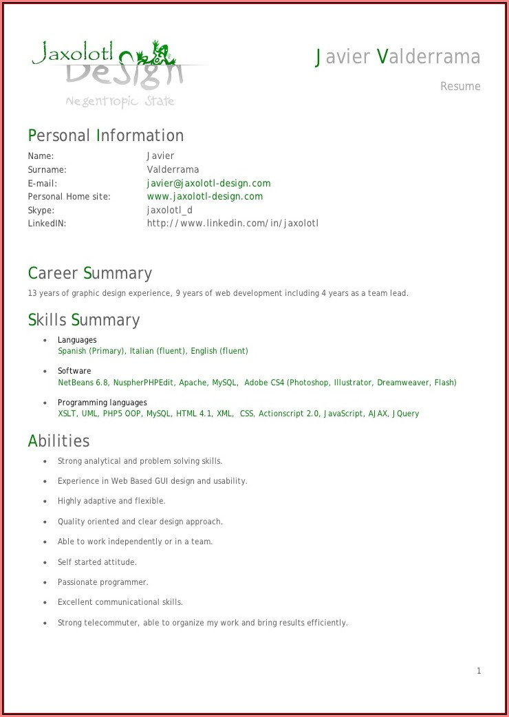 Experienced Php Programmer Resume