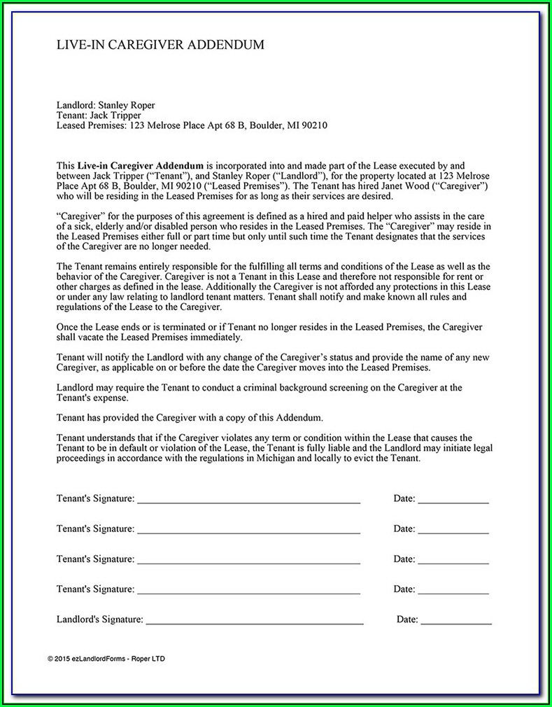 Family Caregiver Contract Form