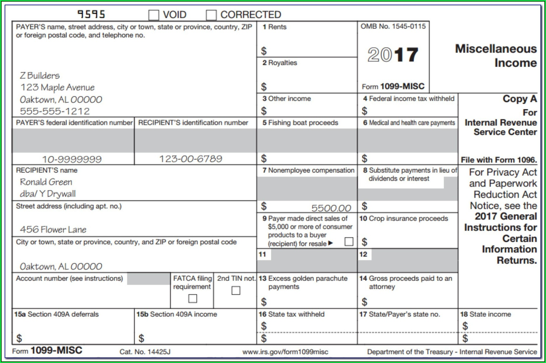Fillable 1099 Form 2017 Free