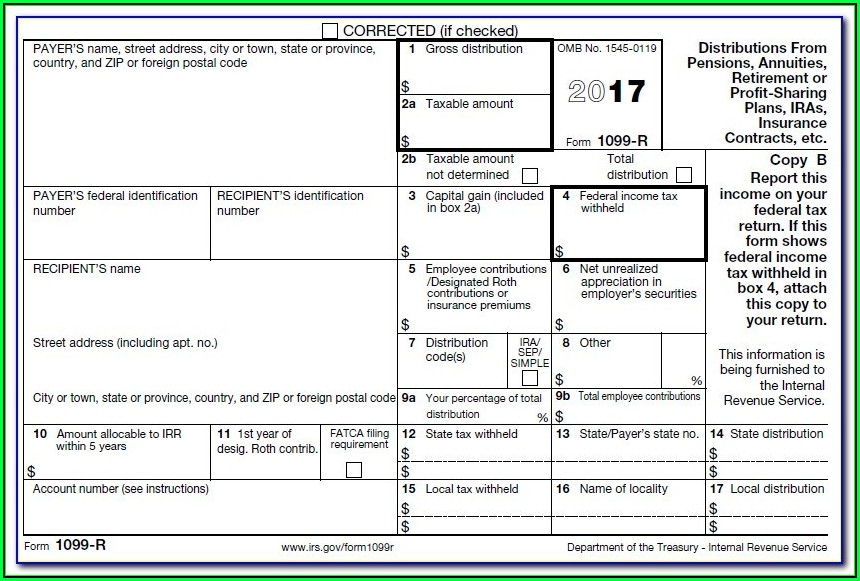 Fillable 1099 R Form 2017