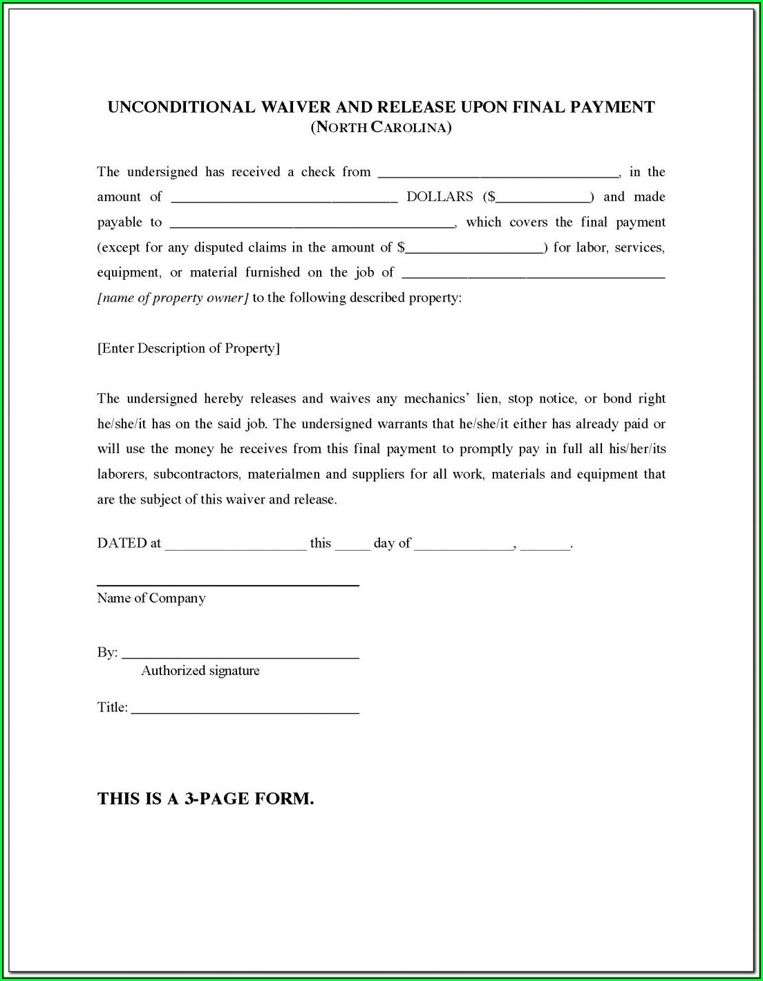 Final Lien Release Form Florida