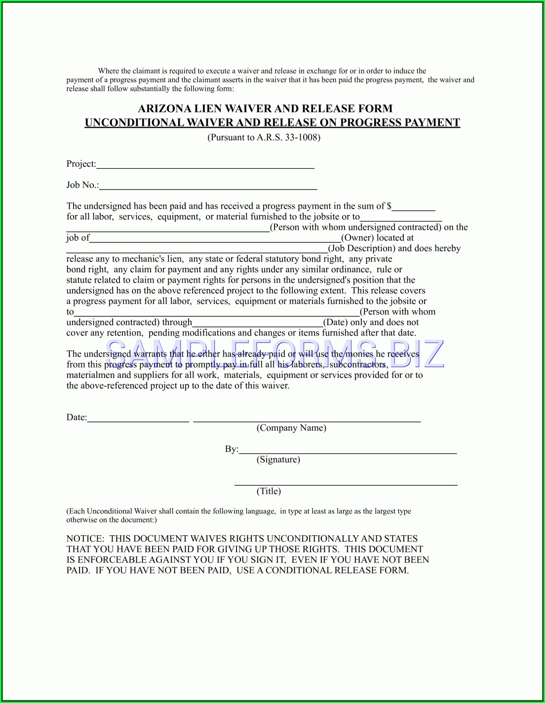 Florida Mechanics Lien Waiver Form