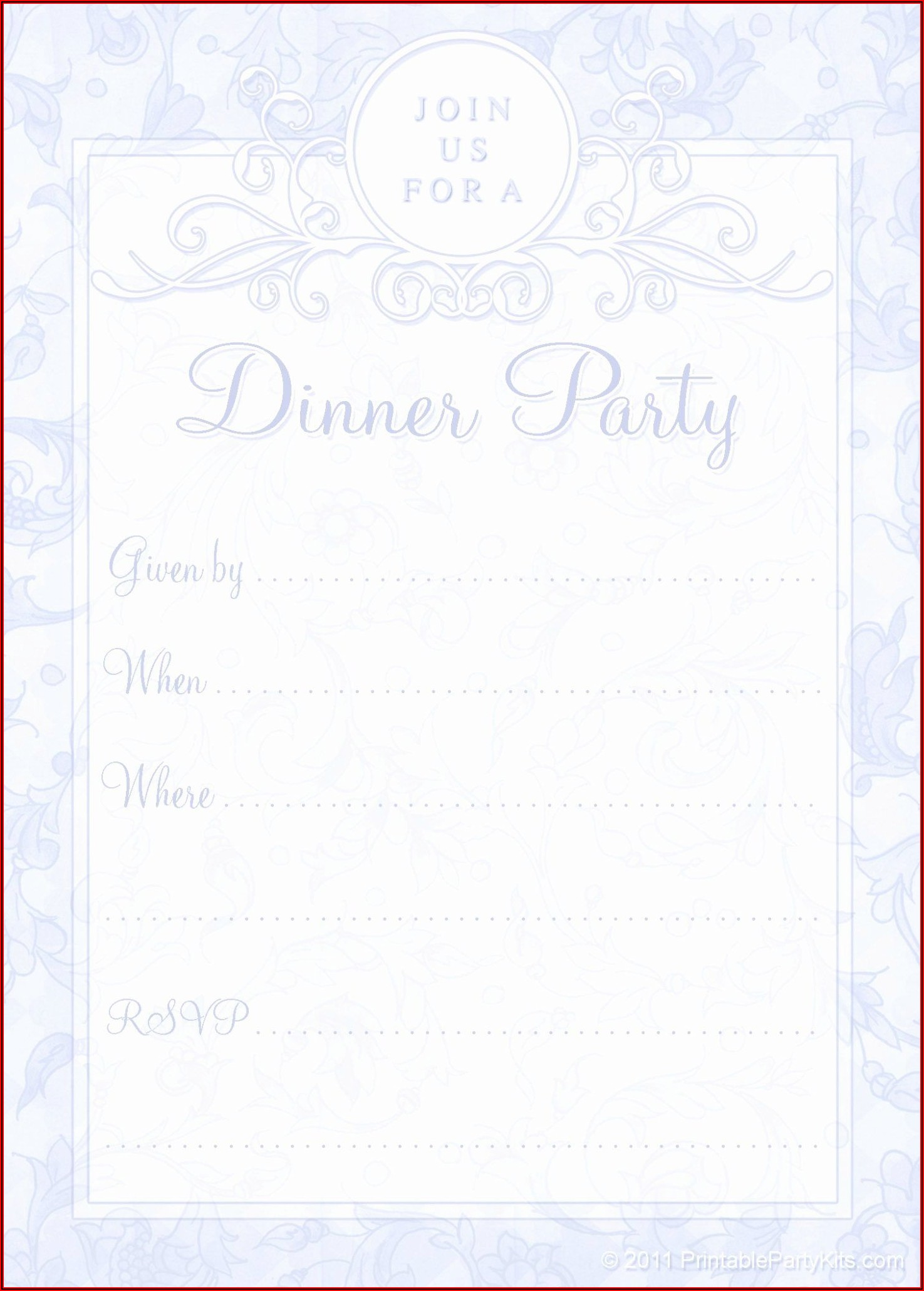 Formal Dinner Invitation Template Free