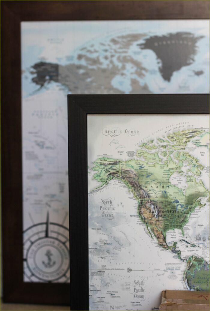Framed Push Pin World Travel Map