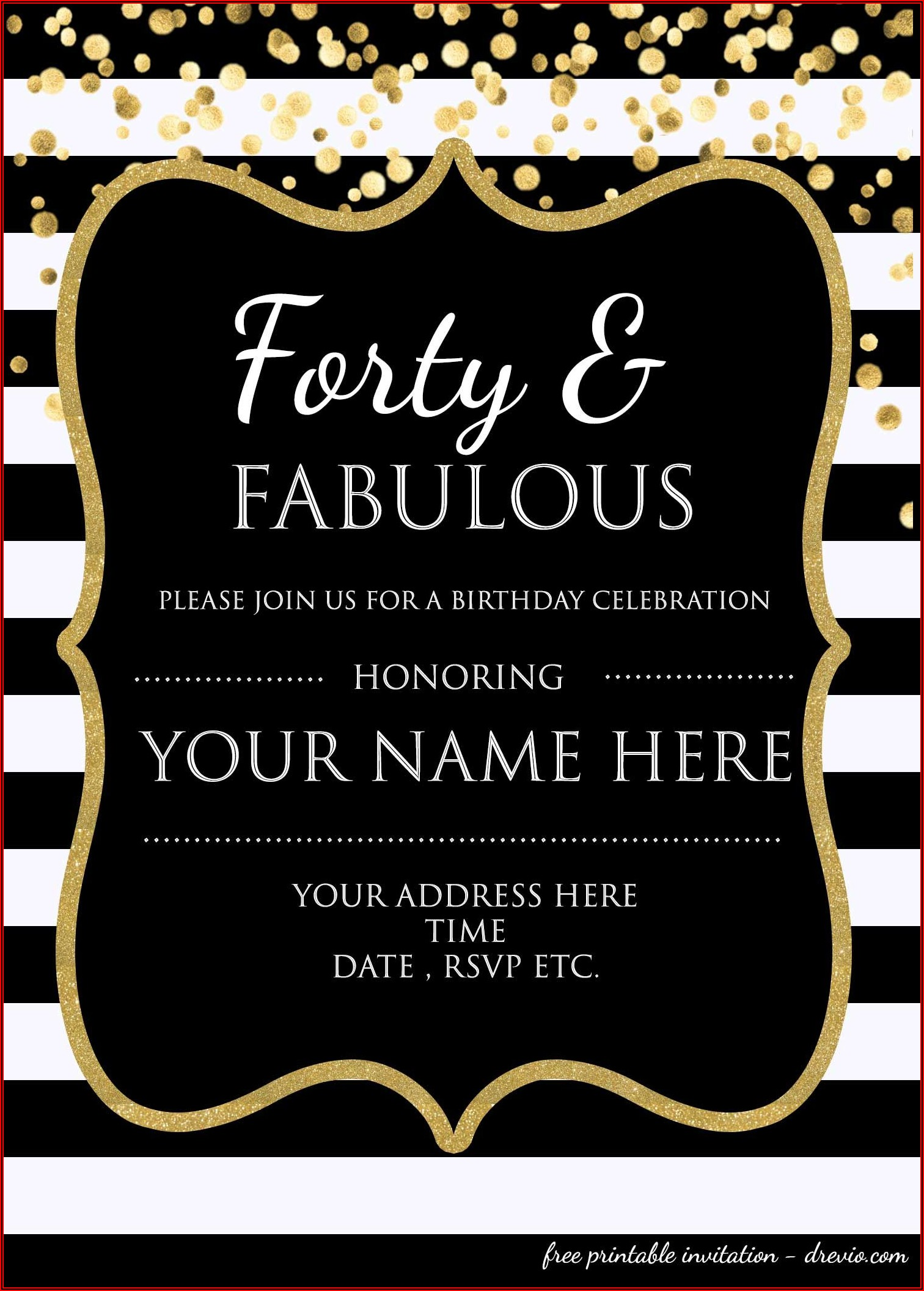 Free 40th Birthday Email Invitation Templates