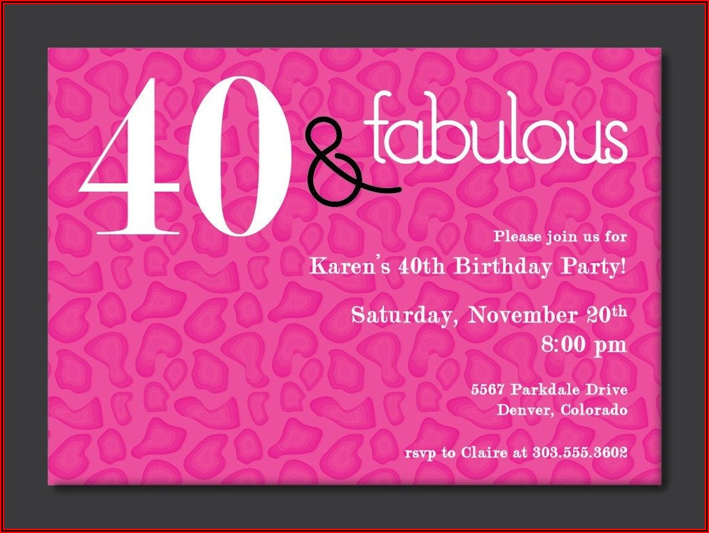 Free 40th Birthday Invitation Templates For Adults