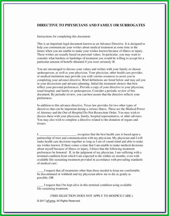 Free Advance Healthcare Directive Form California