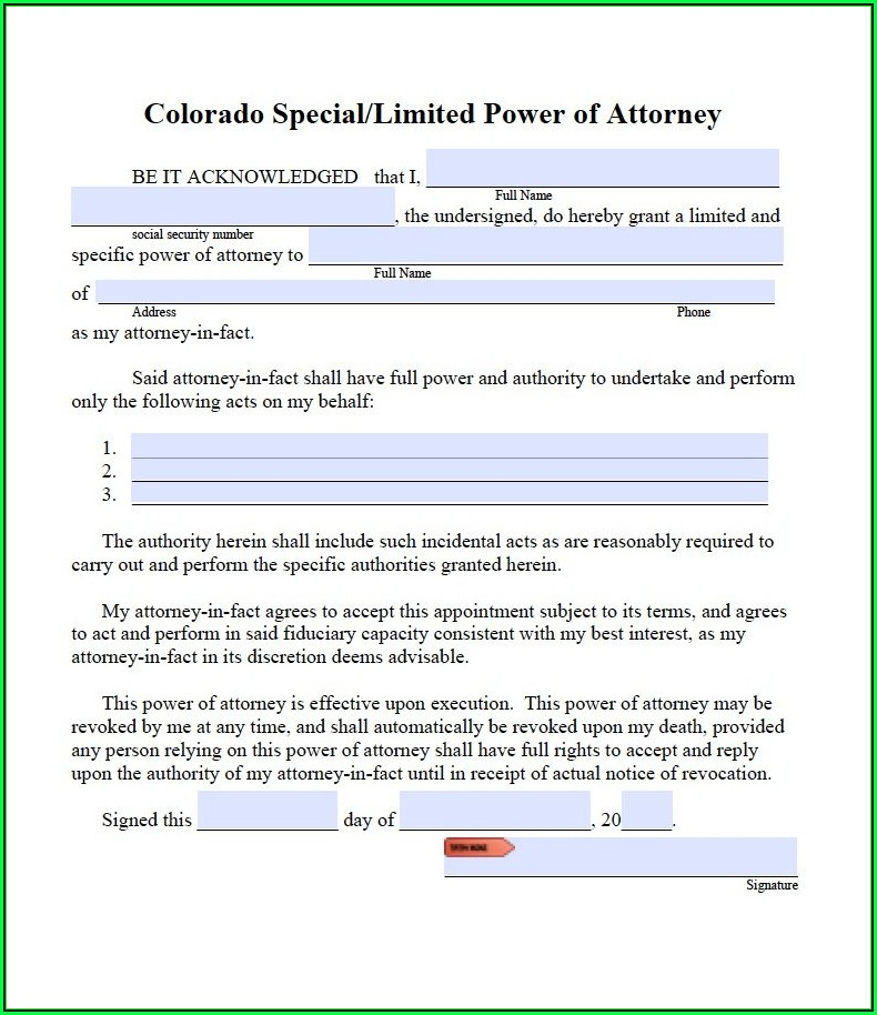 Free Blank Printable Medical Power Of Attorney Forms Colorado