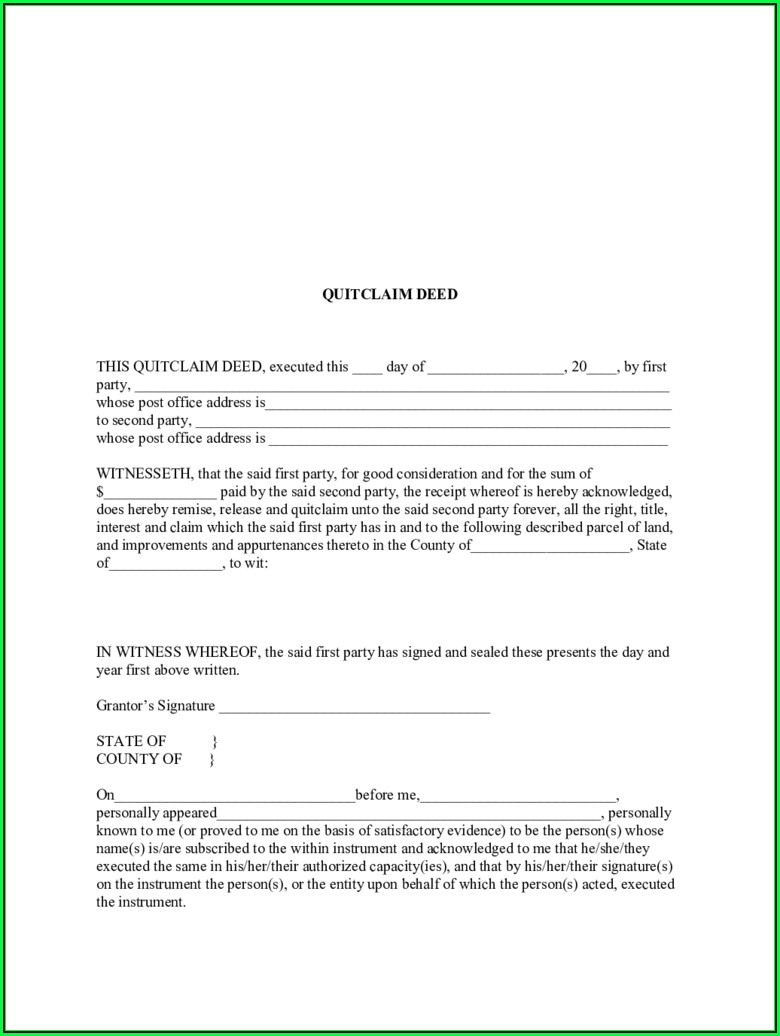 Free Blank Quit Claim Deed Form Indiana
