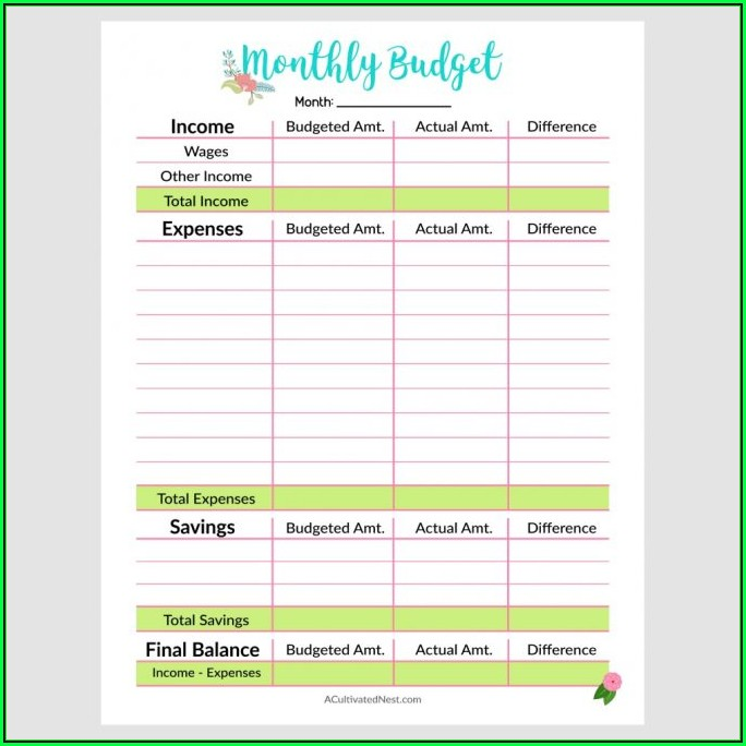 Free Budget Forms Templates