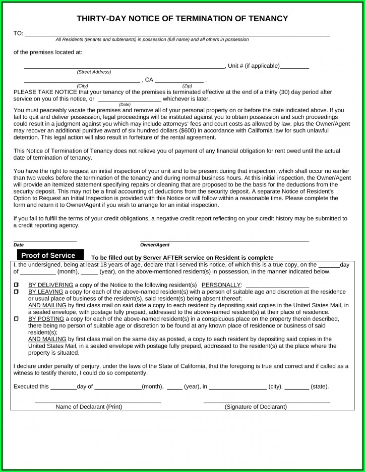 Free California 30 Day Notice To Vacate Form