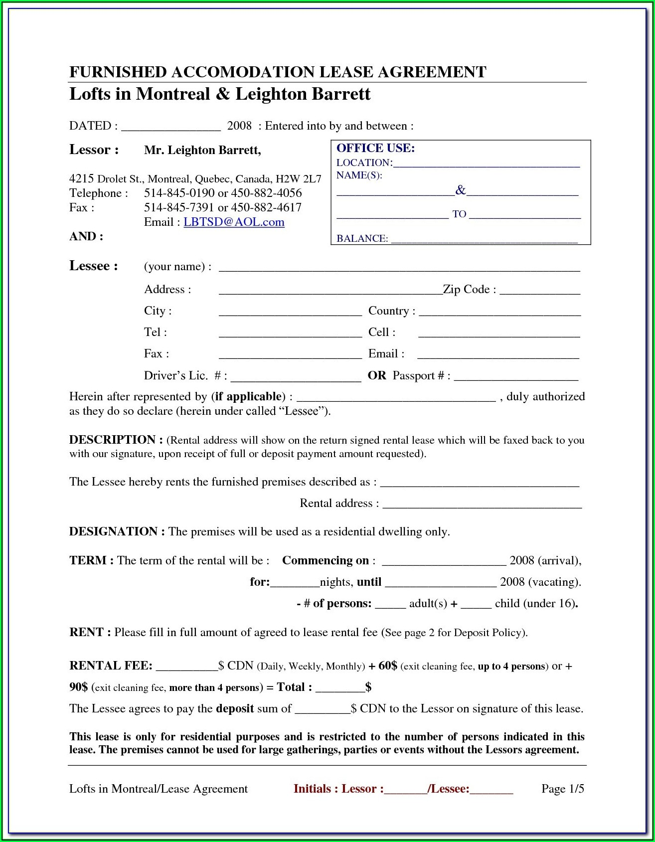Free Chicago Apartment Lease Form