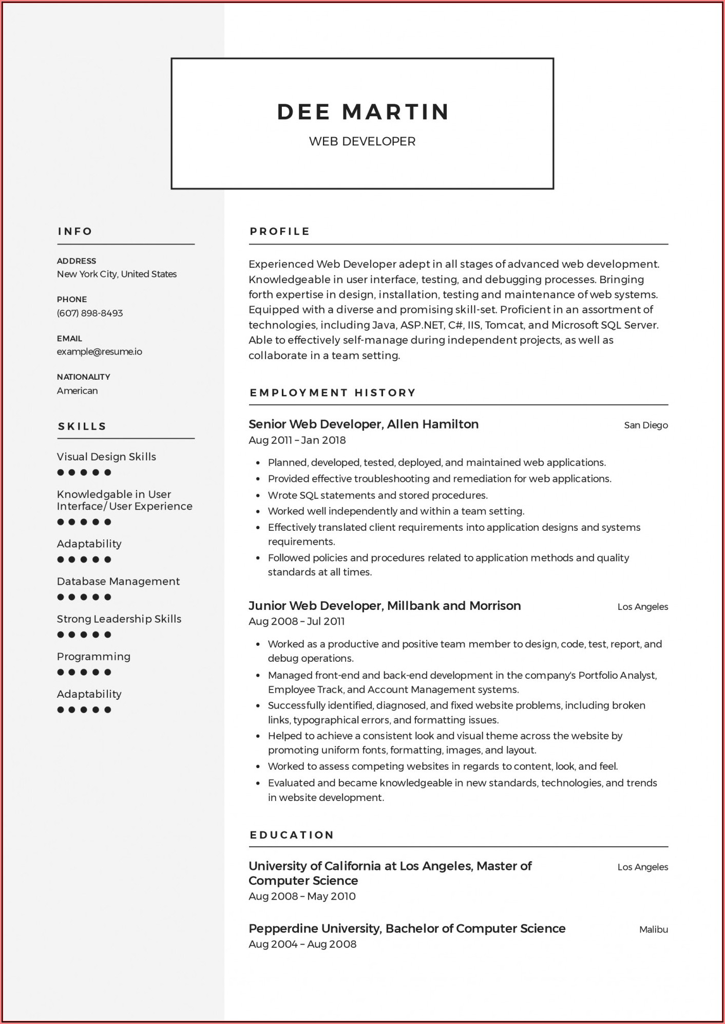 Free Chronological Resume Template 2018
