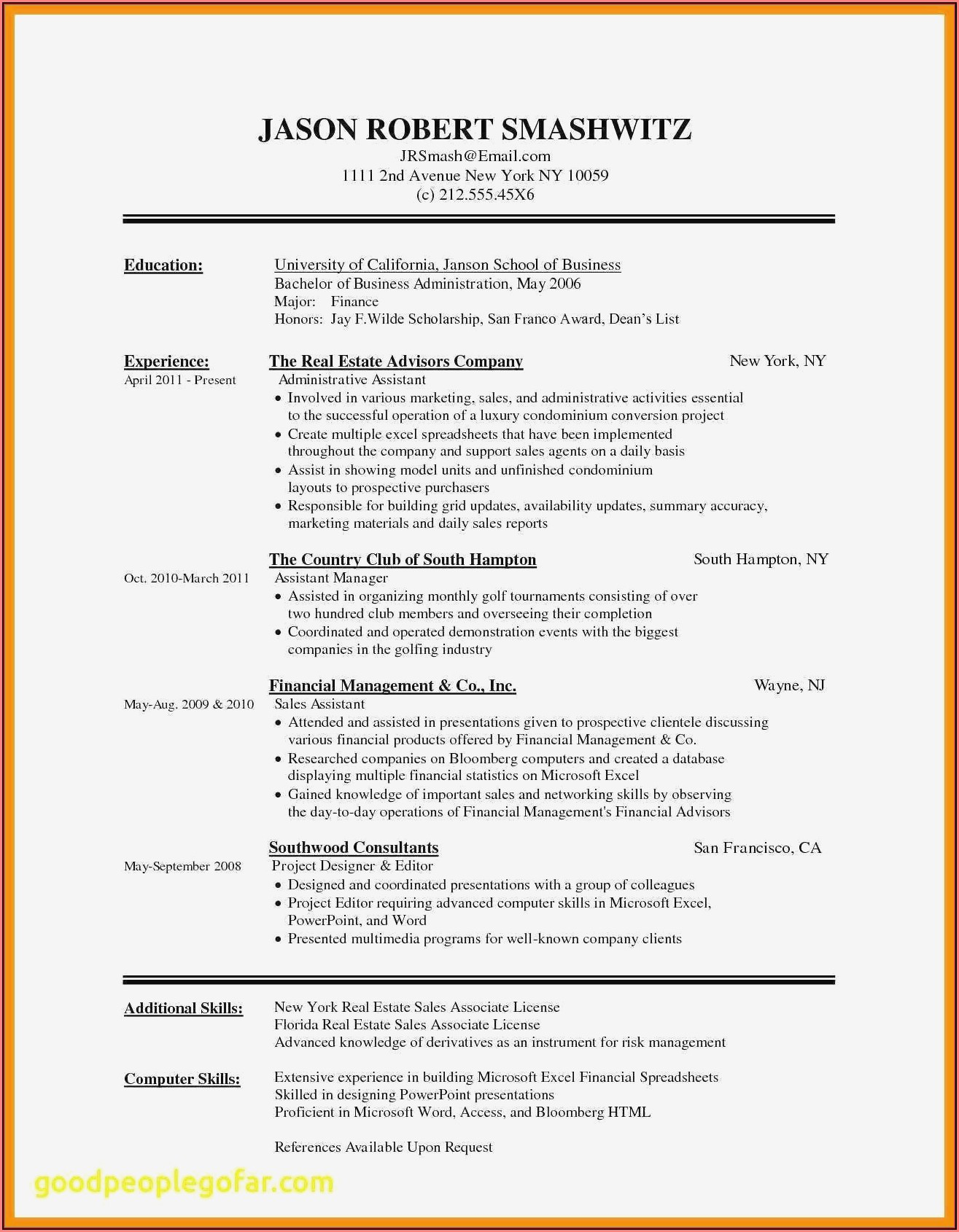 Free Chronological Resume Template Word