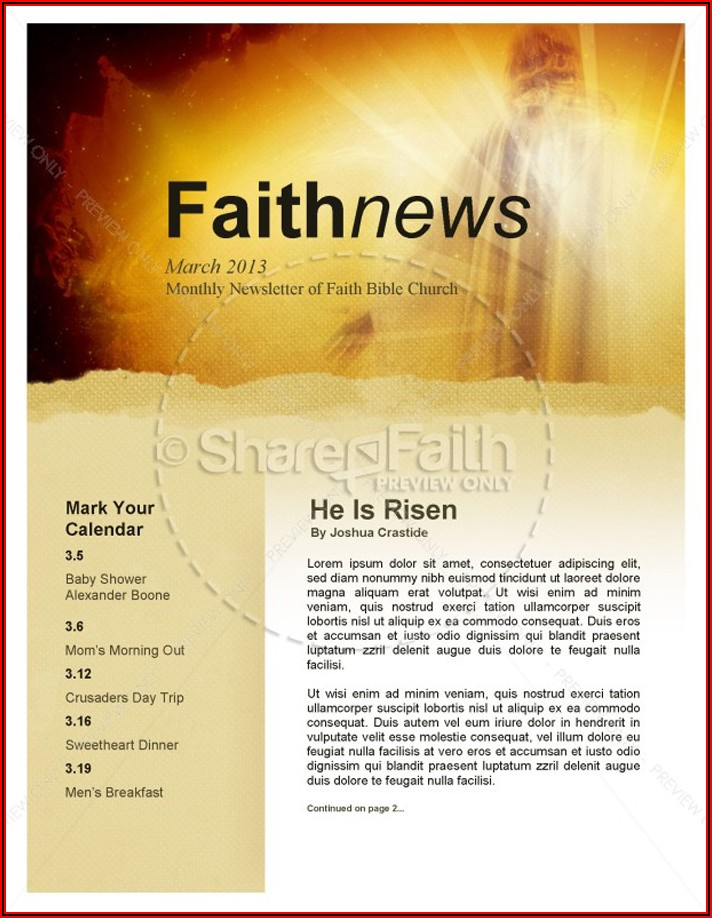 Free Church Newsletter Templates For Microsoft Publisher