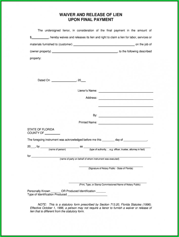 Free Conditional Lien Release Form