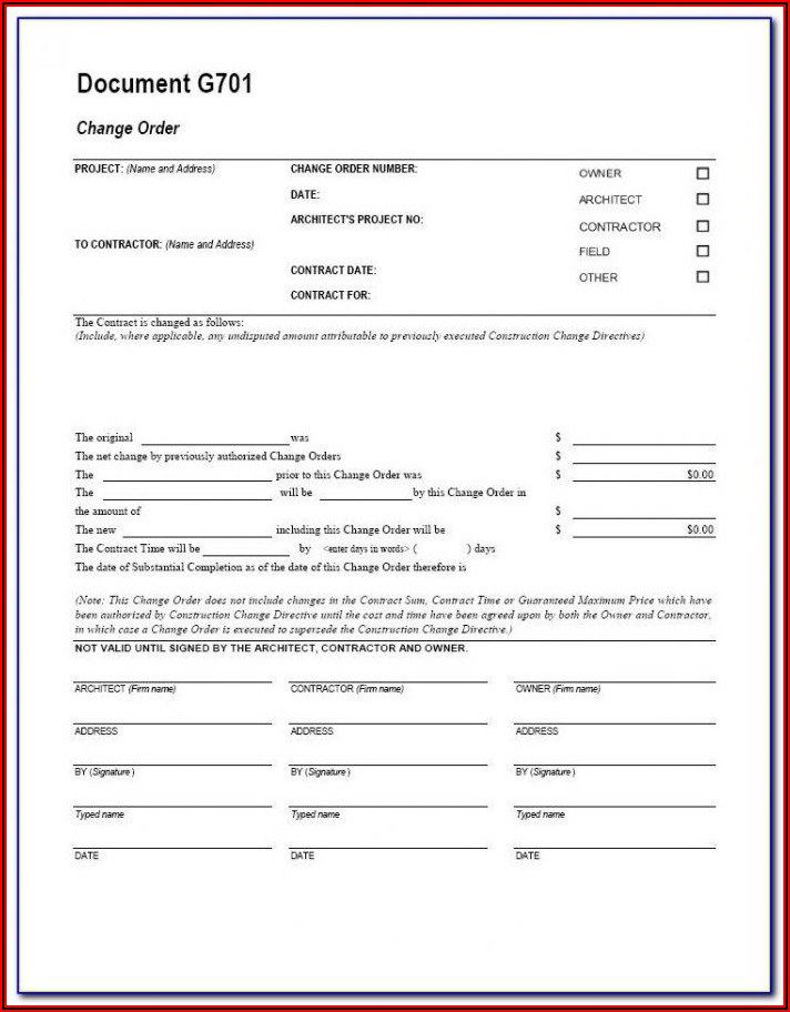 Free Construction Change Order Form Template Excel