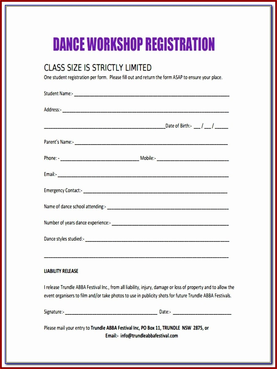 Free Dance Team Registration Form Template