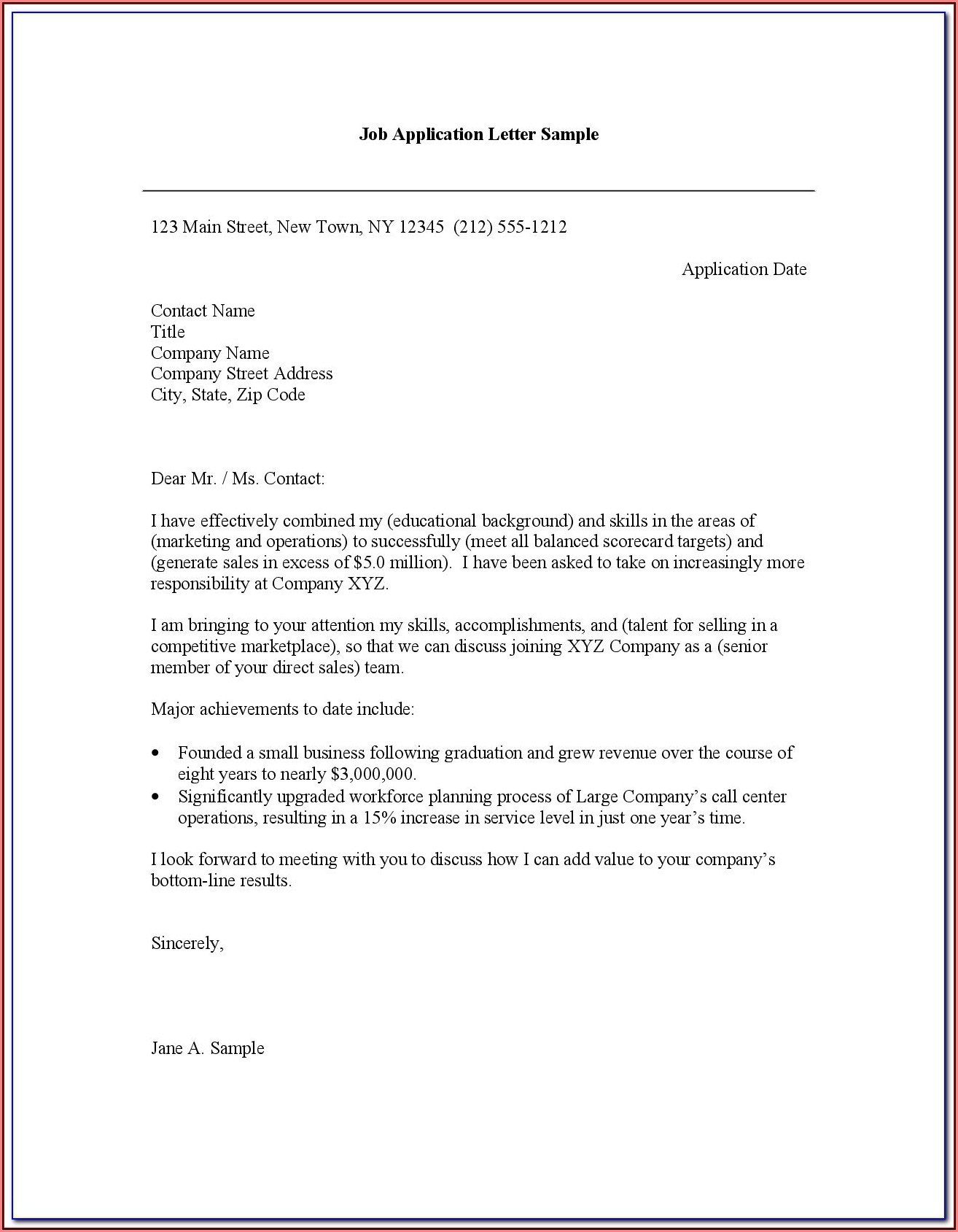 Free Download Of Cover Letter Samples For Resumes
