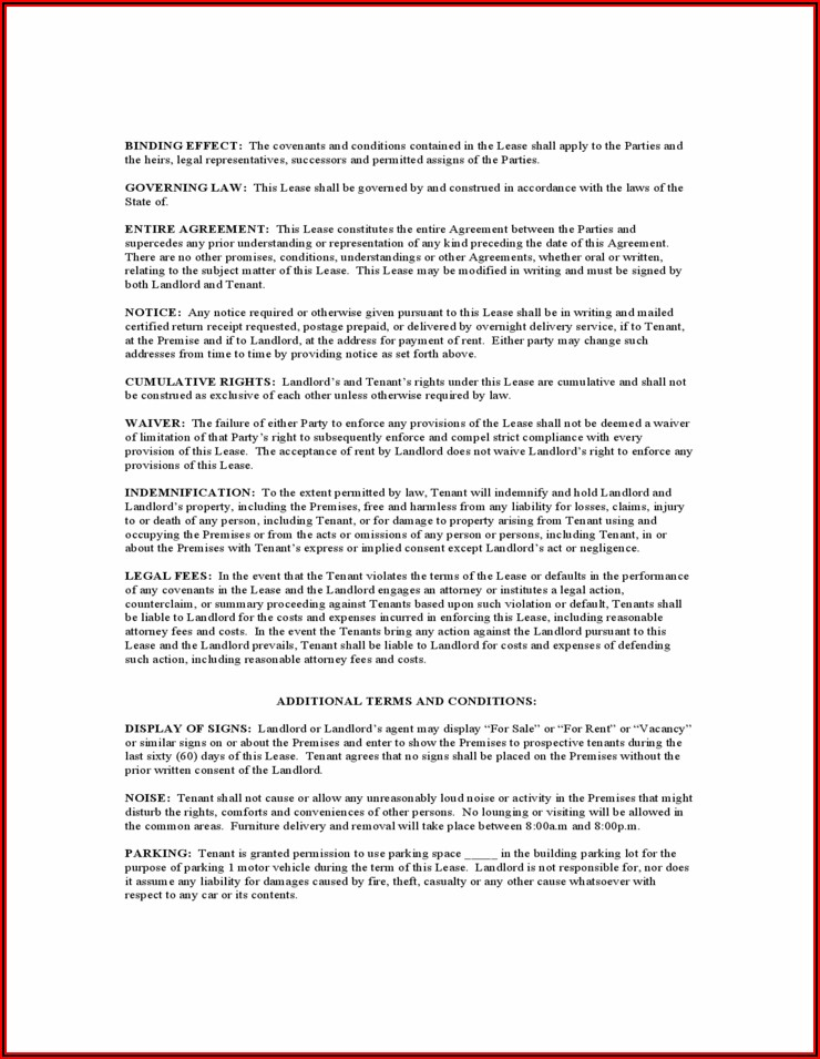 Free Downloadable Rental Agreement Template