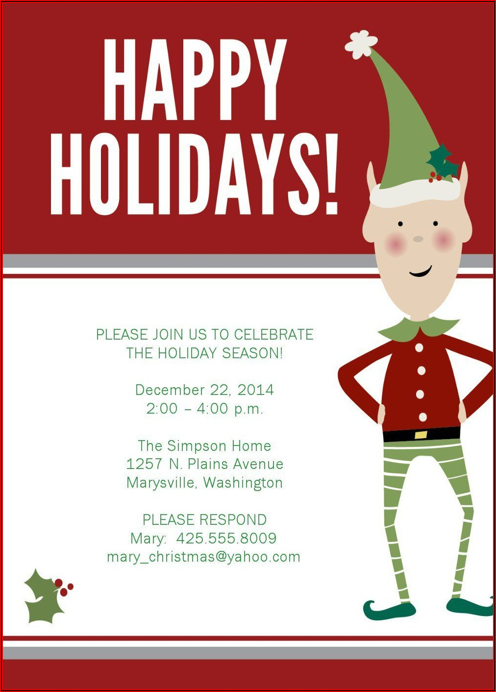 Free Email Holiday Party Invitation Templates