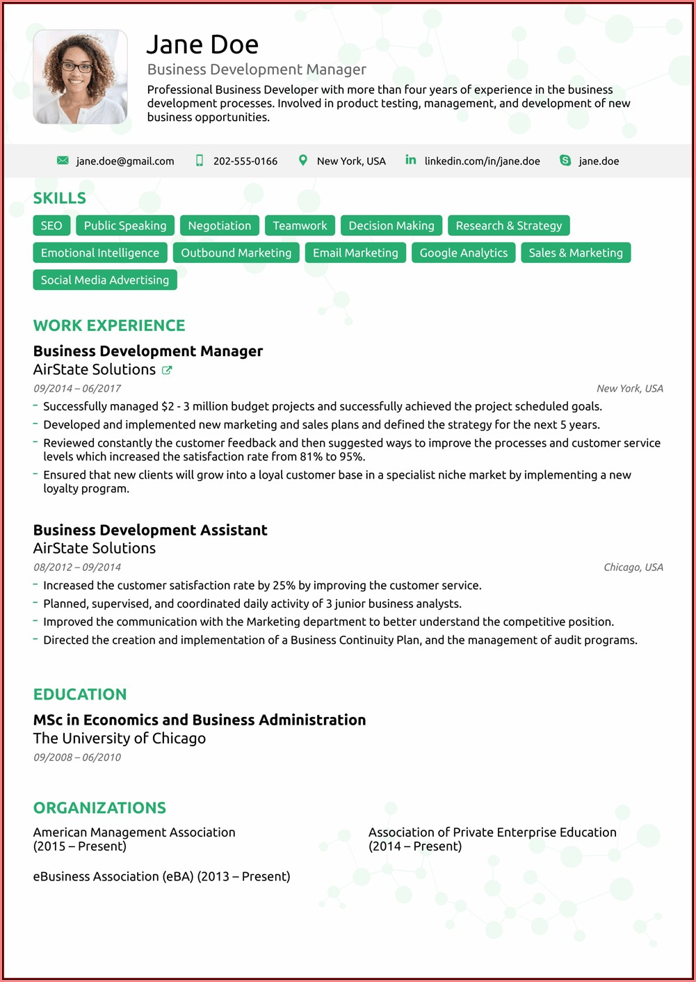 Free Executive Resume Templates 2018