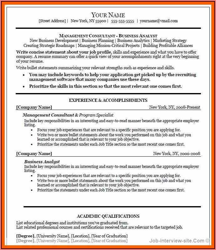 Free Executive Resume Templates Microsoft Word