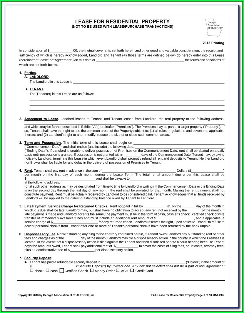 Free Georgia Rental Agreement Form