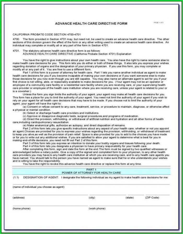 Free Health Care Proxy Form Texas
