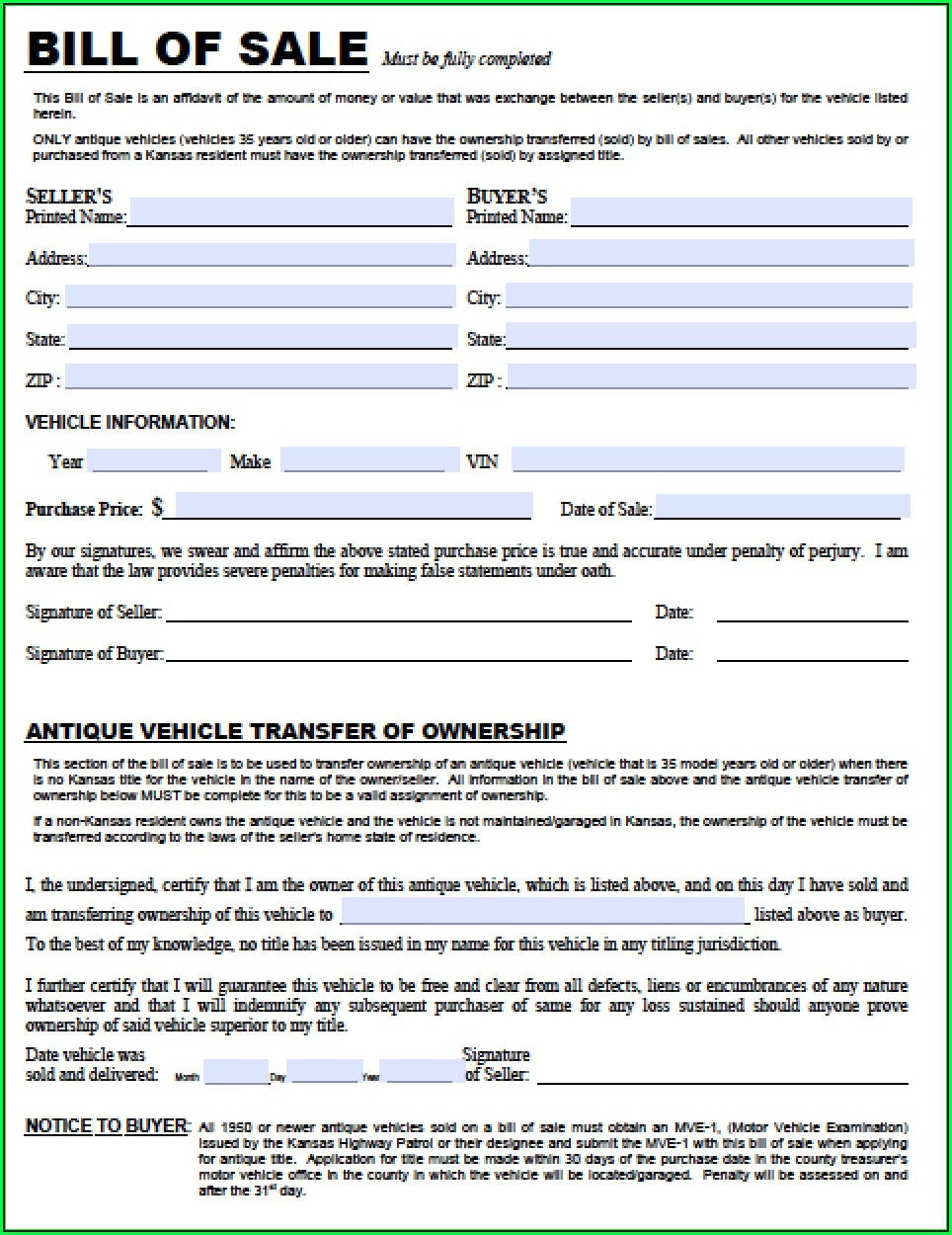 Free Kansas Bill Of Sale Form