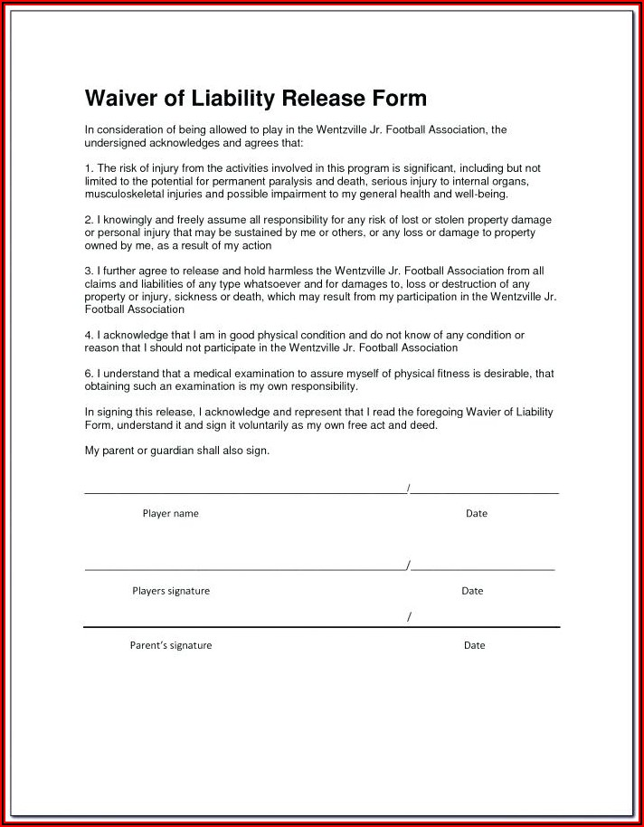 Free Legal Release Form Template