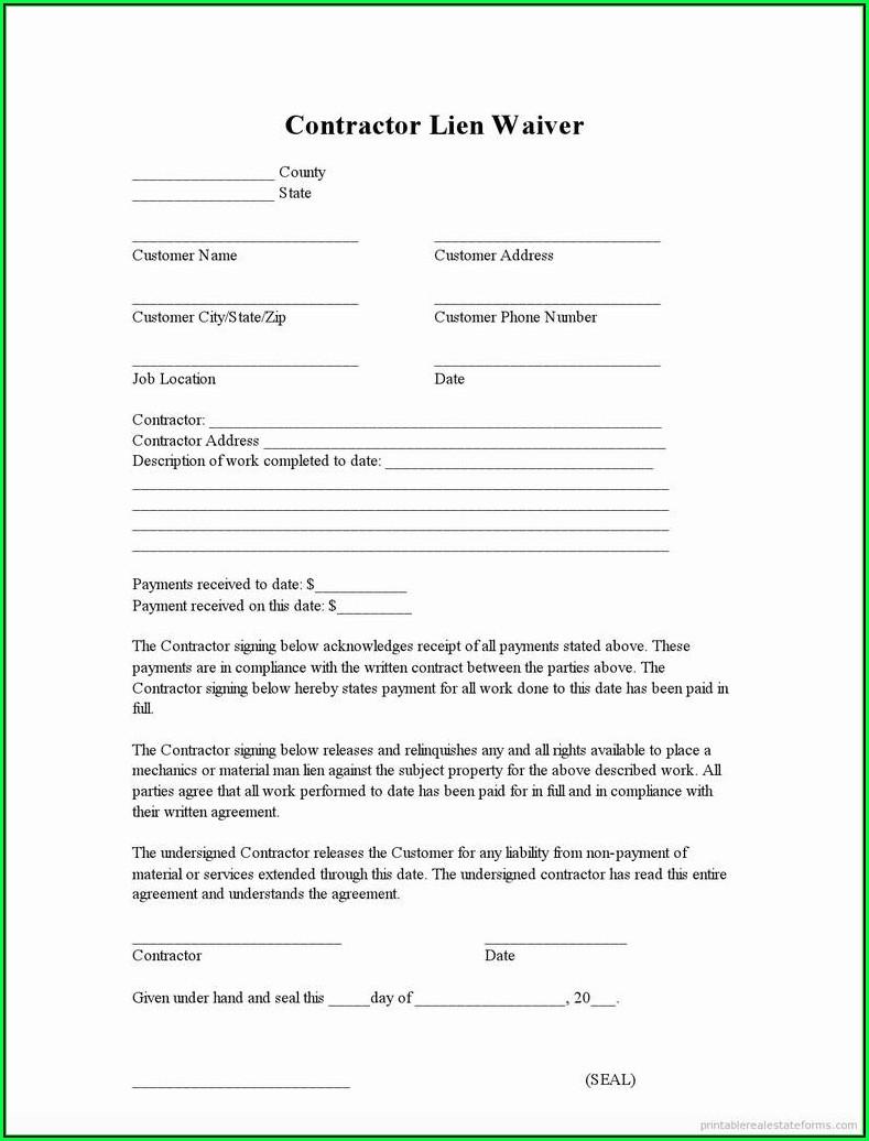 Free Lien Release Form