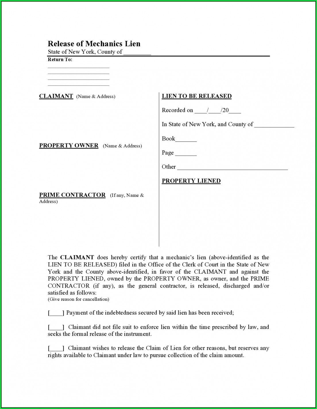 Free Mechanics Lien Release Form